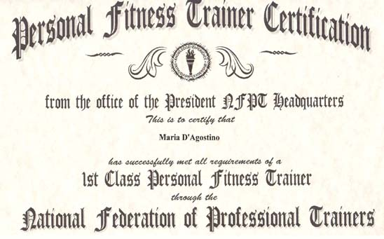 Professional trainer certification